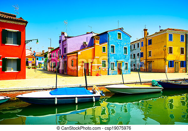 Venice landmark, Burano island canal, colorful houses and boats, Italy. Long exposure photography - csp19075976