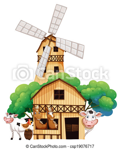 A barn at the farm with animals - csp19076717