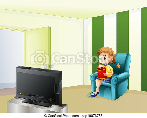 A girl watching TV while eating - csp19076756