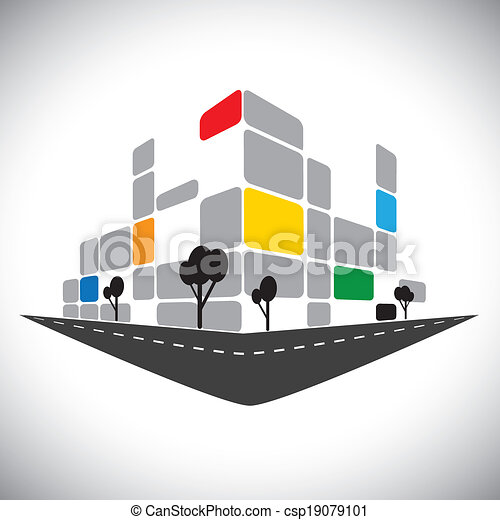 vector icon - commercial office high-rise building of city skyline. This graphic can also represent urban commercial structures, hotels, super centers, banks, skylines, skyscrapers, etc - csp19079101