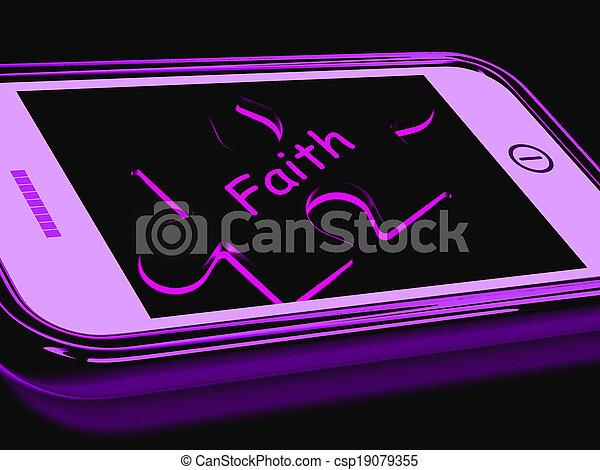 Faith Smartphone Shows Religion Belief And Follower - csp19079355