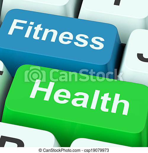 Fitness Health Keys Shows Healthy Lifestyle - csp19079973