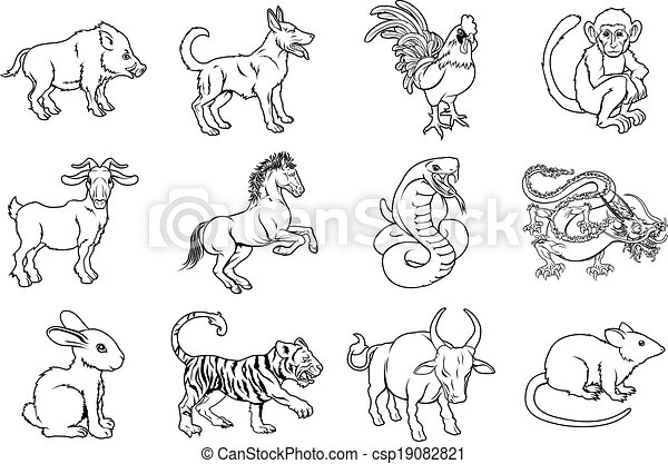 of Chinese Zodiac Signs - Illustrations of all twelve Chinese ...