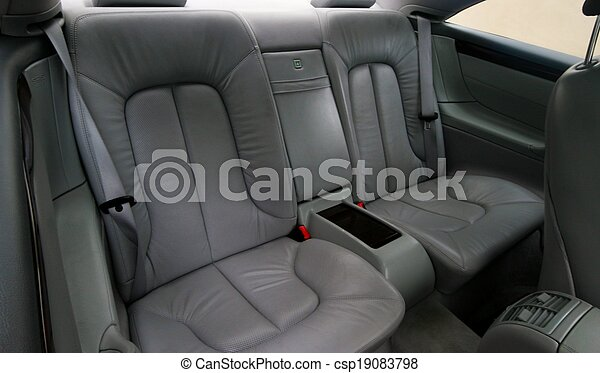 Rear gray leather vehicle seats