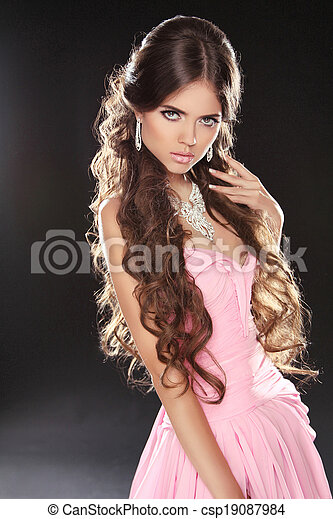 Pictures of Wavy Hair. Beautiful Sexy Brunette Woman in pink dress ...