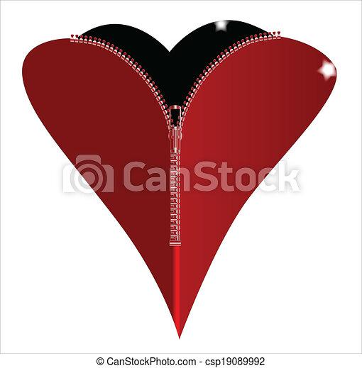 EPS Vectors of Zipper Heart - A red heart with a zipper ...