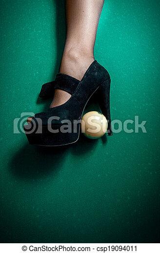 billiard ball stuck in high heel