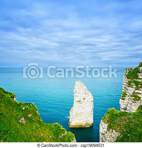 Etretat Aval cliff rock landmark and blue ocean. Aerial view. Normandy, France, Europe. - csp19094531