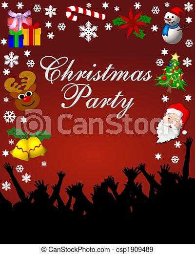 パーティー, プラカード, クリスマス, 赤 - クリスマス, パーティー, プラカード, 赤 csp1909489 ...