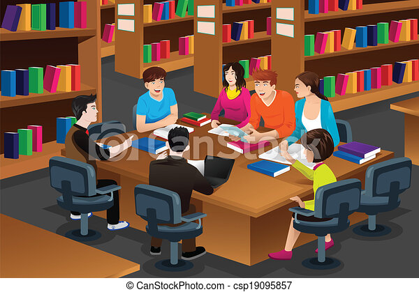 Clipart Vector of College students studying in the library ...