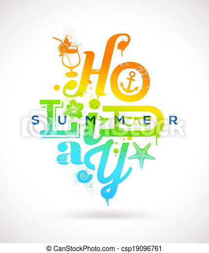 Summer holidays type design - csp19096761