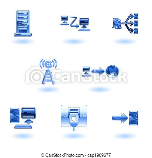 Glossy Computer Network Icon Set - csp1909677