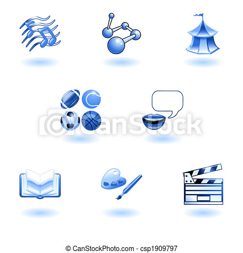 Blue glossy category education web icons - csp1909797