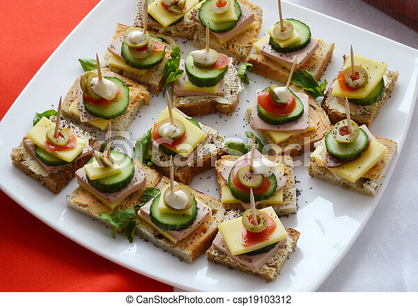 Stock photography of cold cuts buffet appetizers for Canape meaning in english