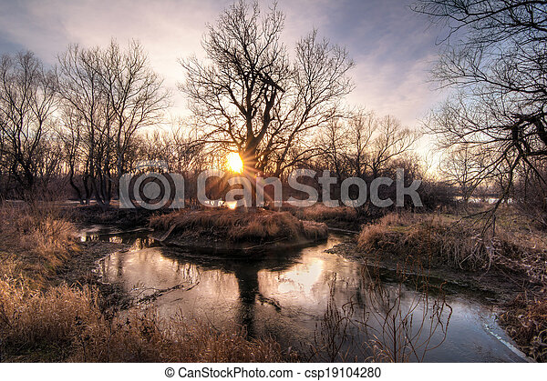 Autumn sunset on the river - csp19104280