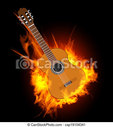 Guitar On Fire Clip Art - Bing images