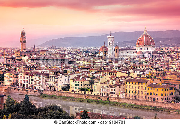 Scenic view of Florence at sunset in dreamy filtered style - csp19104701