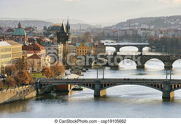 Prague bridges aerial view - csp19105662