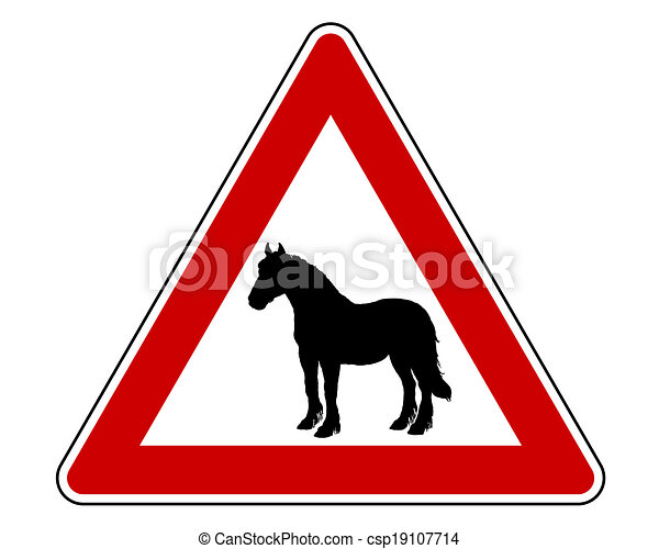 Horse warning sign - csp19107714