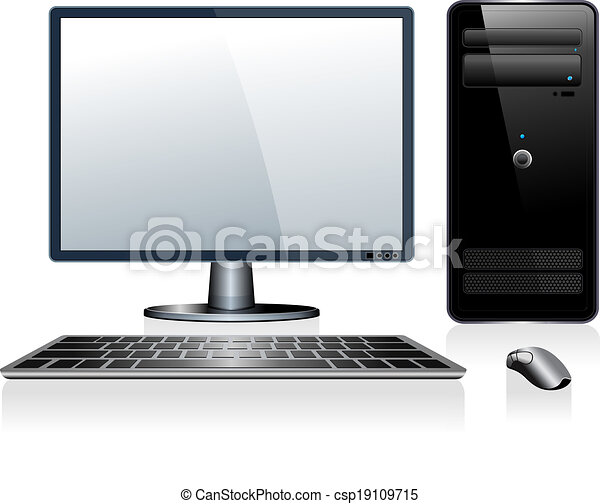 Vector Clip Art of Desktop Computer - Computer with ...