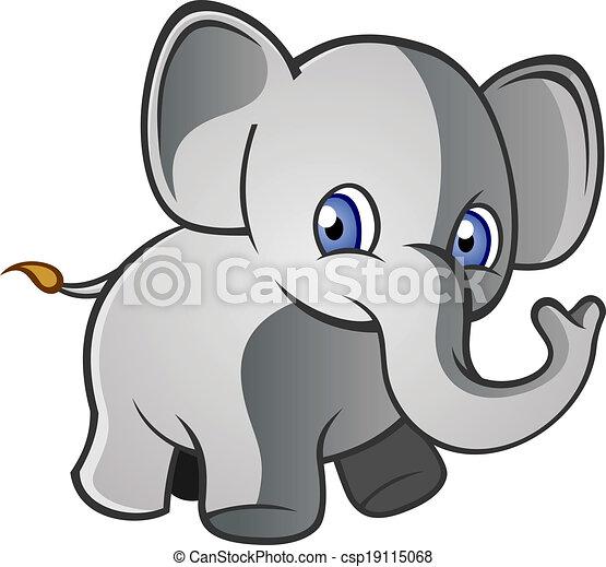 Clip Art Vektor von baby, zeichen, karikatur, elefant - a ...