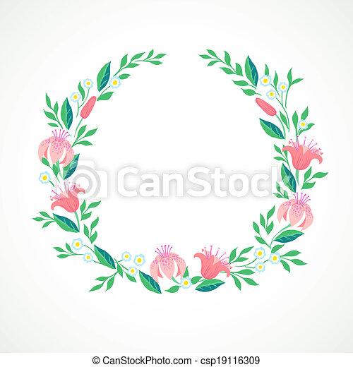 vecteur vecteur fleurs couronne illustration
