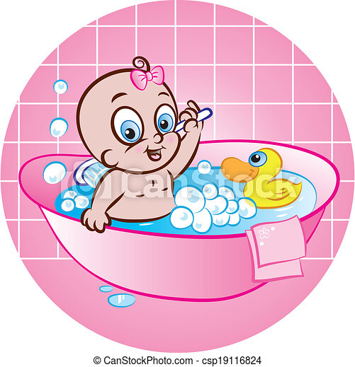 vector illustration of happy baby girl in tub vector illustration of cute baby csp19116824. Black Bedroom Furniture Sets. Home Design Ideas
