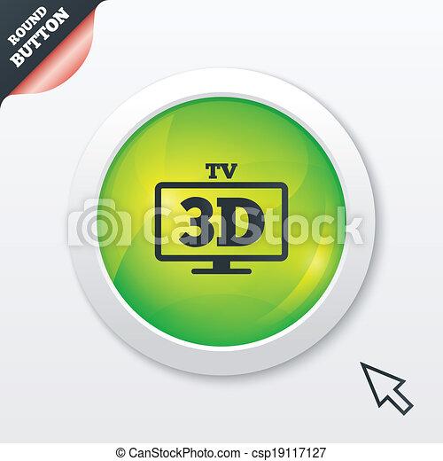 vektor illustration von 3d fernsehapparat zeichen ikone. Black Bedroom Furniture Sets. Home Design Ideas