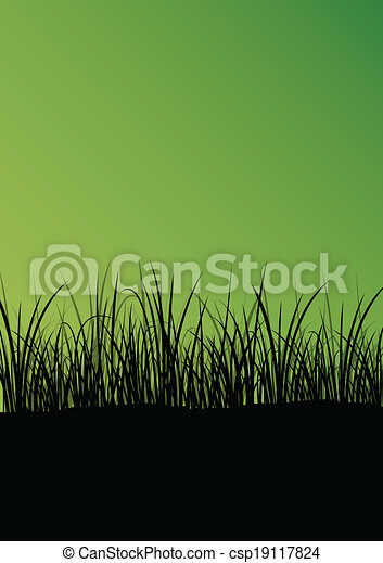 Green grass and plants detailed silhouette landscape illustration abstract background vector - csp19117824