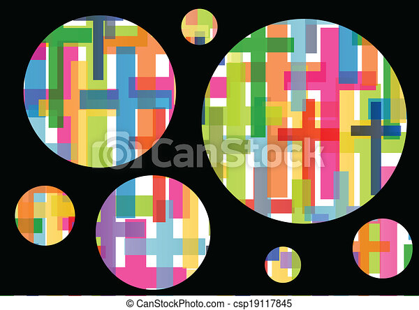 Christianity religion cross dream bubbles mosaic concept abstract background vector illustration - csp19117845
