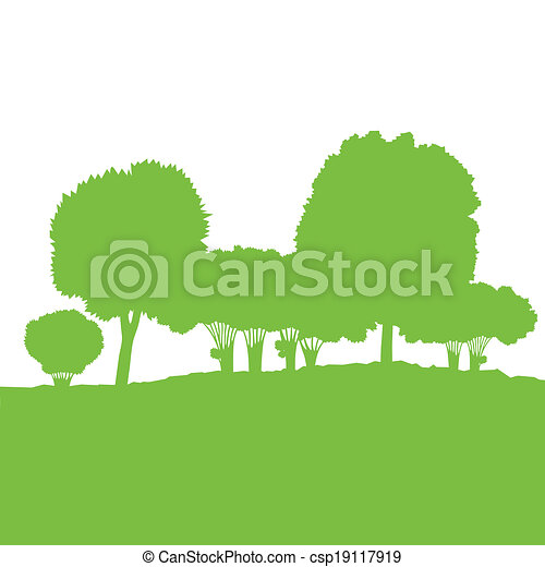 Ecology concept detailed forest tree illustration vector background card for poster - csp19117919