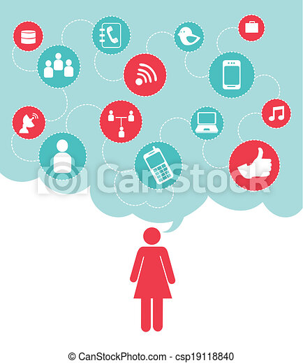 Vektor sozial vernetzung design stock illustration lizenzfreie