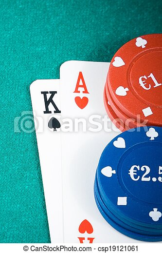 poker cards and gambling chips on green gaming table - csp19121061
