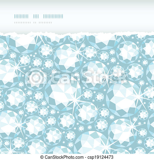 Vector shiny diamonds horizontal torn frame seamless pattern background with geometric elements. - csp19124473