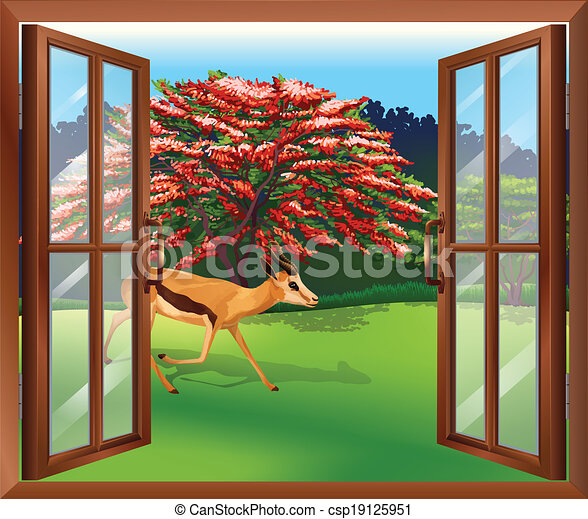 Clipart Vector Of A Window With A View Of The Deer Outside