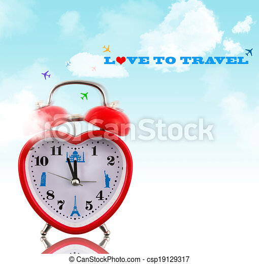 Love to travel! Heart clock with landmarks and sky - csp19129317