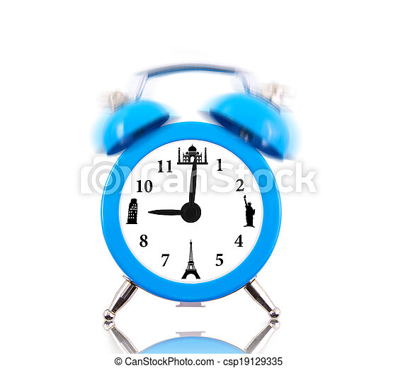 Classic alarm clock ringing, with landmarks on dial isolated - csp19129335