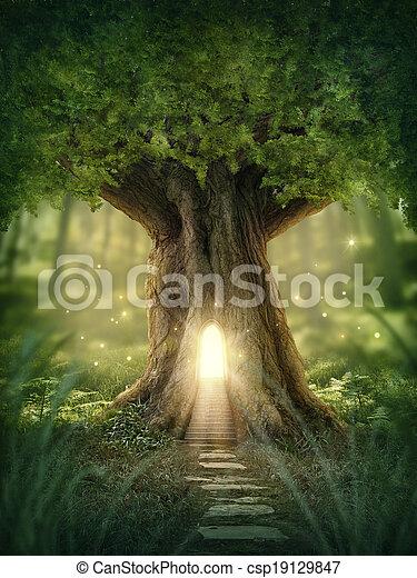 fantasia, albero, casa - csp19129847
