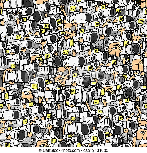 Vector of paparazzi seamless pattern with doodle drawings for Paparazzi clipart