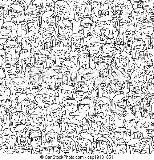 Singing children choir seamless pattern in black and white - csp19131851