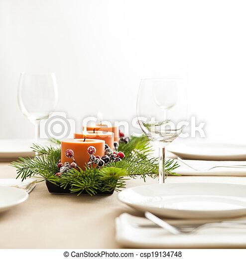 Christmas Dinner table setting - csp19134748