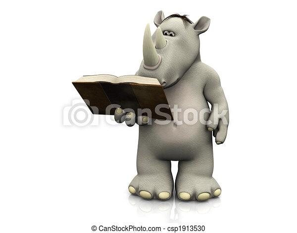 Cartoon rhino reading book. - csp1913530
