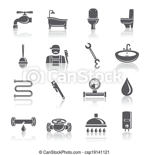 Plumbing tools pictograms set - csp19141121