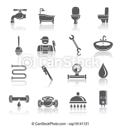 Plumbing tools pictograms set - csp19141121