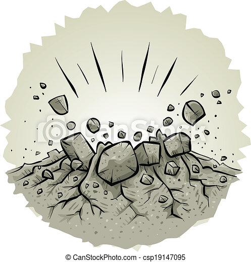 EPS Vectors of Explosive Impact - Cartoon rocks explode from an ...