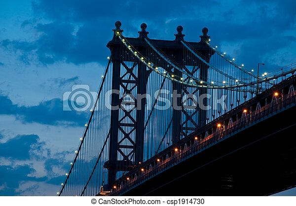 Manhattan Bridge in twilight - csp1914730