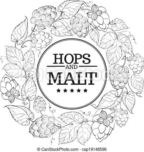 Black circle of fruit hops - csp19148596