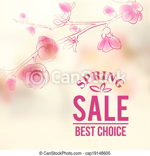 Spring sale and flowers - csp19148605