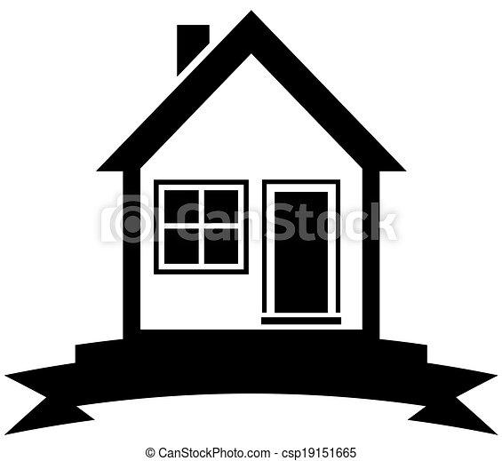 Clip art vecteur de maison noir ruban maison ic ne for Maison de ruban