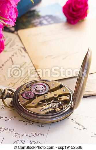 retro concept with antique clock - csp19152536